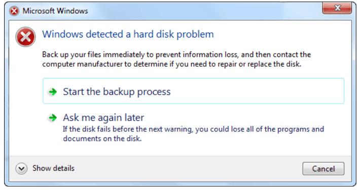 Windows Detected Hard Disk Problem - Screenshot